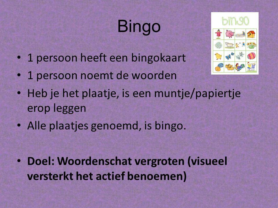 Bingo 1 persoon heeft een bingokaart 1 persoon noemt de woorden Heb je het plaatje, is een muntje/papiertje erop leggen Alle plaatjes genoemd, is bingo.
