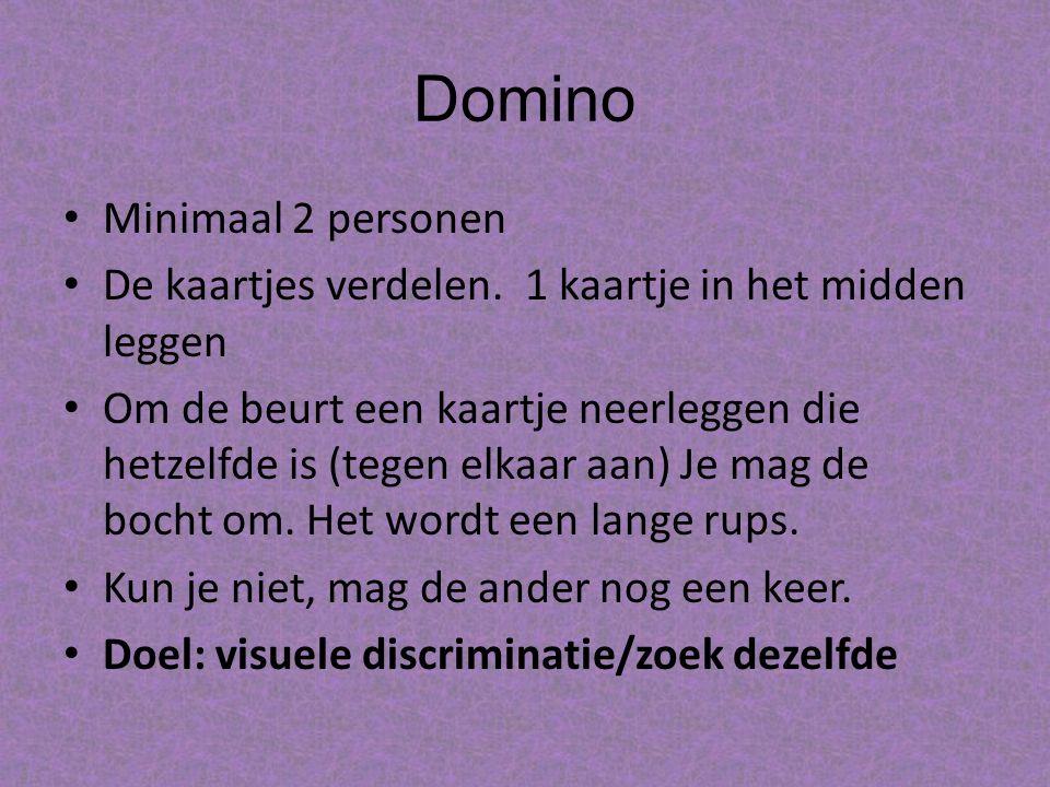 Domino Minimaal 2 personen De kaartjes verdelen.