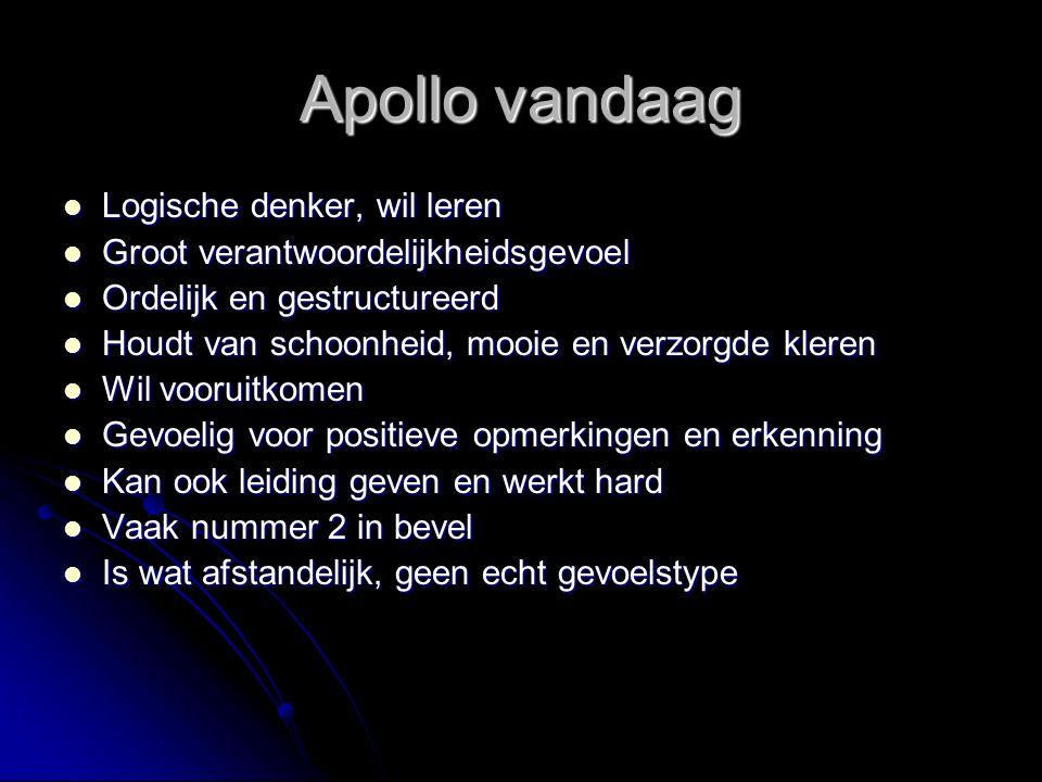Apollo vandaag Logische denker, wil leren Logische denker, wil leren Groot verantwoordelijkheidsgevoel Groot verantwoordelijkheidsgevoel Ordelijk en g