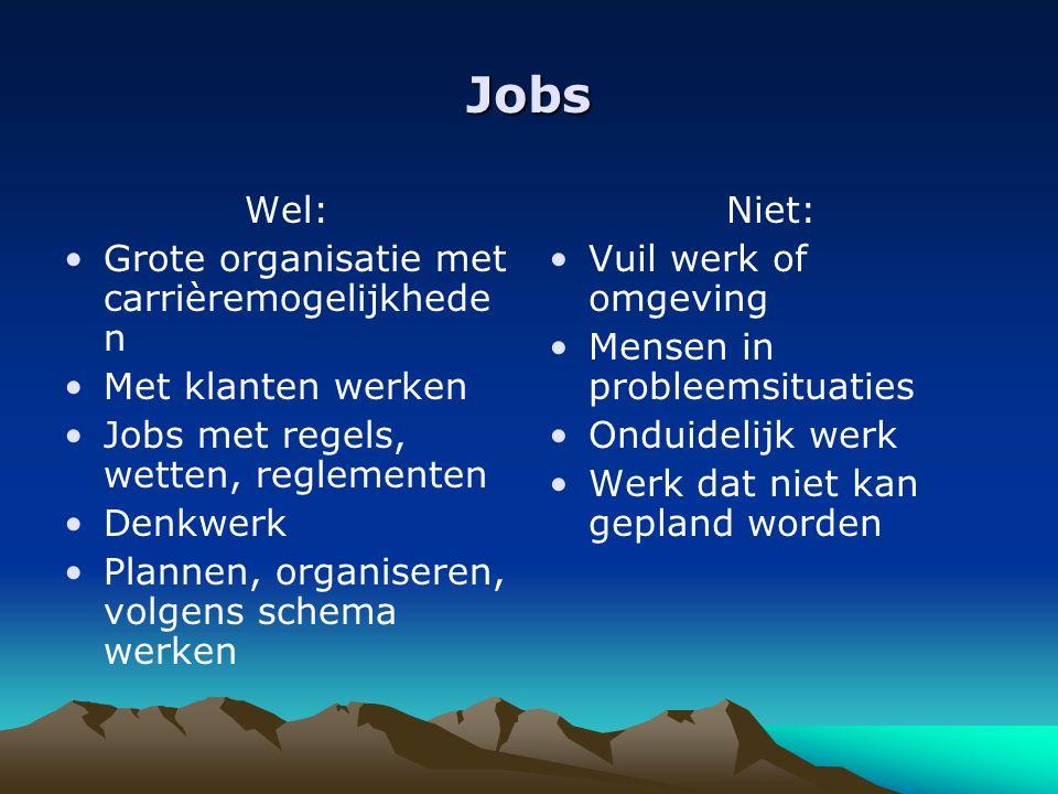 Jobs Wel: Grote organisatie met carrièremogelijkhede n Met klanten werken Jobs met regels, wetten, reglementen Denkwerk Plannen, organiseren, volgens schema werken Niet: Vuil werk of omgeving Mensen in probleemsituaties Onduidelijk werk Werk dat niet kan gepland worden