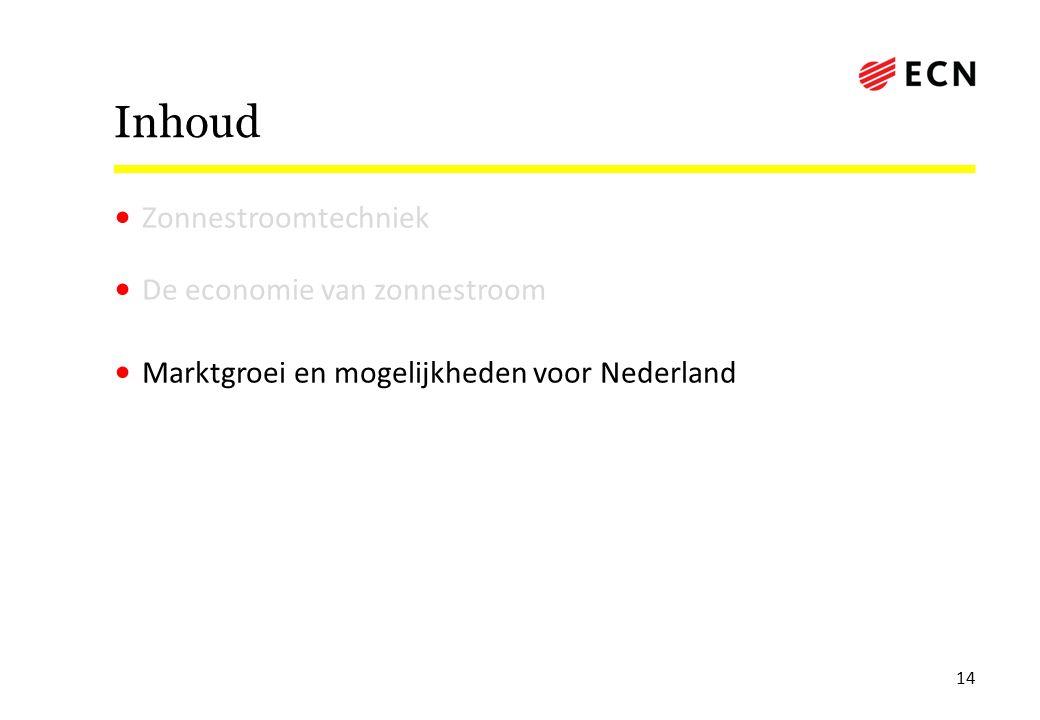 Inhoud Zonnestroomtechniek De economie van zonnestroom Marktgroei en mogelijkheden voor Nederland 14
