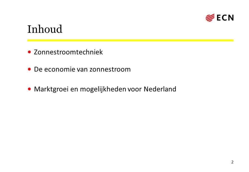 Inhoud Zonnestroomtechniek De economie van zonnestroom Marktgroei en mogelijkheden voor Nederland 2