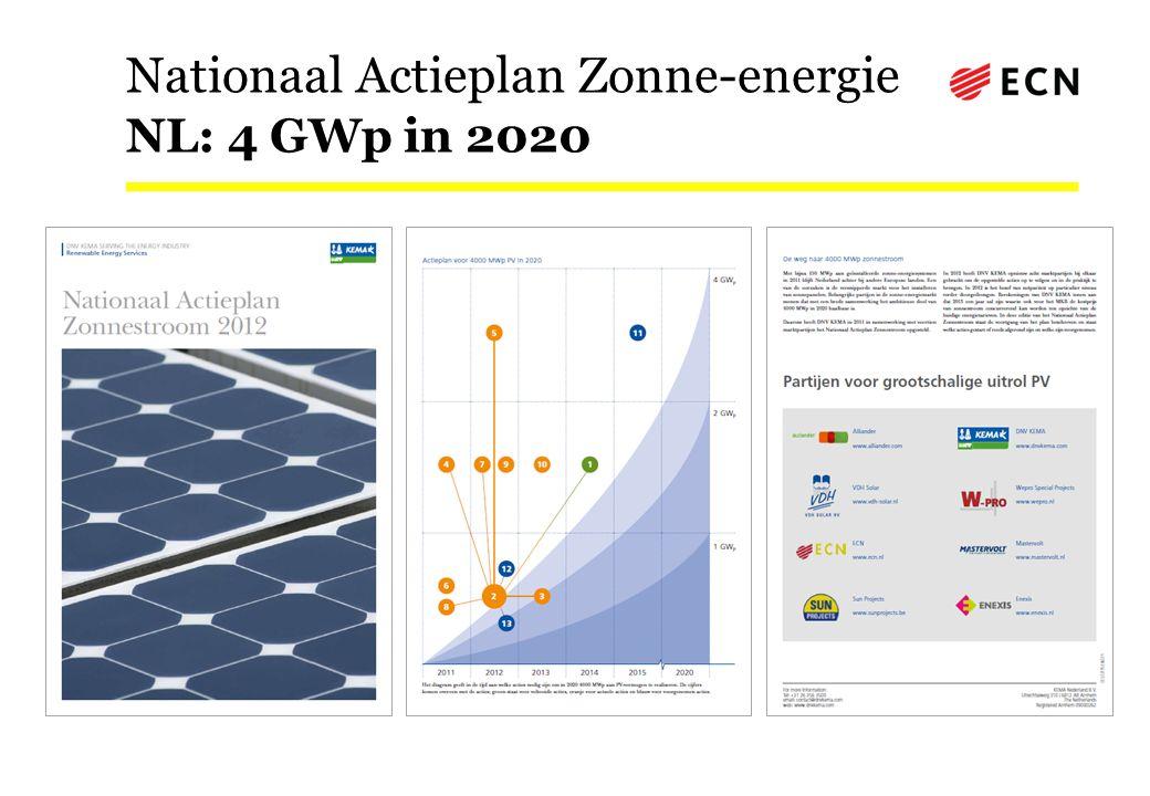 Nationaal Actieplan Zonne-energie NL: 4 GWp in 2020