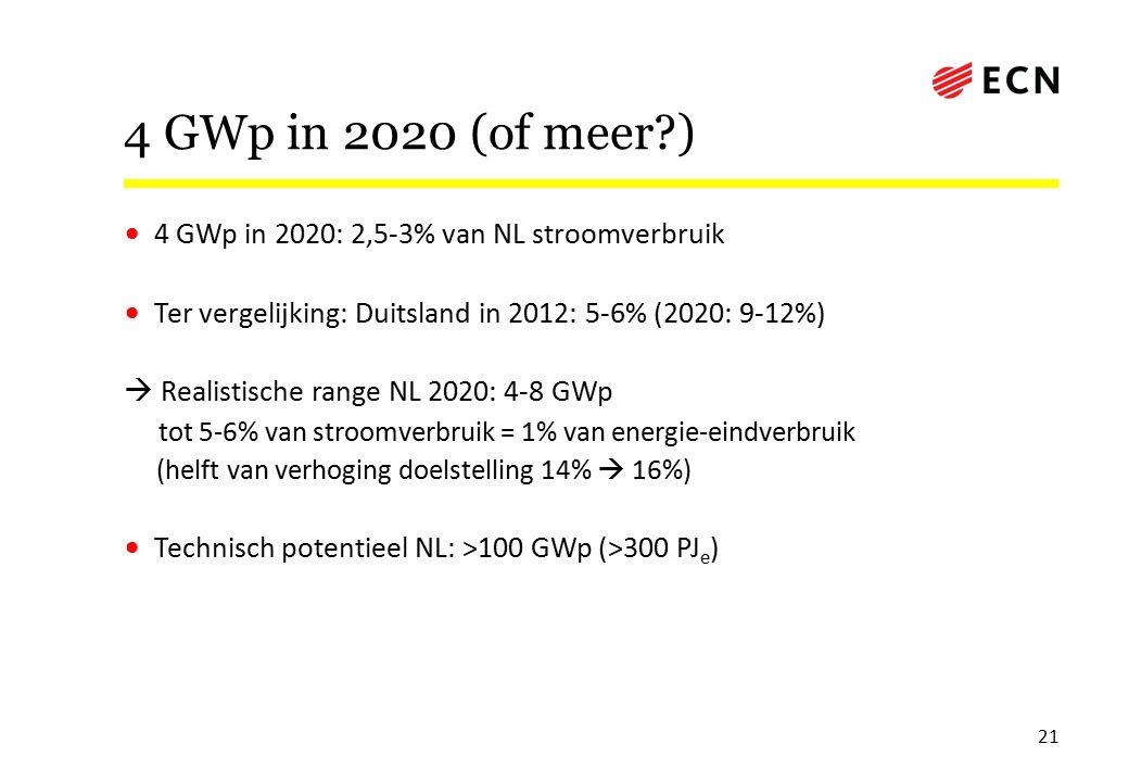 4 GWp in 2020 (of meer ) 4 GWp in 2020: 2,5-3% van NL stroomverbruik Ter vergelijking: Duitsland in 2012: 5-6% (2020: 9-12%)  Realistische range NL 2020: 4-8 GWp tot 5-6% van stroomverbruik = 1% van energie-eindverbruik (helft van verhoging doelstelling 14%  16%) Technisch potentieel NL: >100 GWp (>300 PJ e ) 21