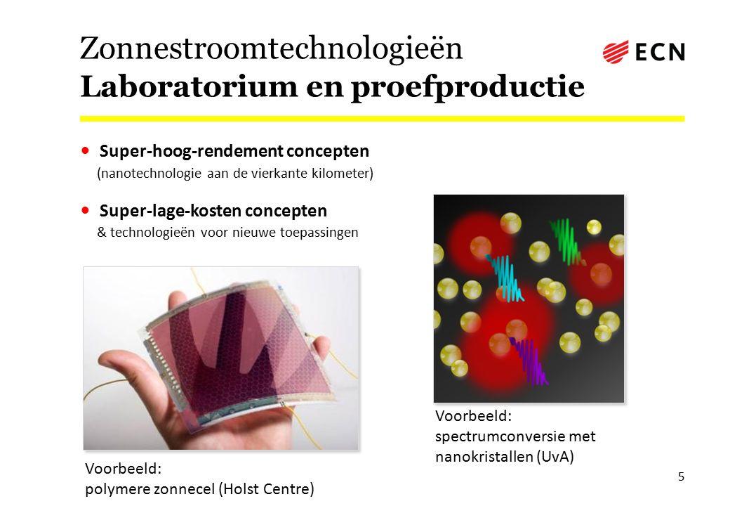 Zonnestroomtechnologieën Laboratorium en proefproductie Super-hoog-rendement concepten (nanotechnologie aan de vierkante kilometer) Super-lage-kosten concepten & technologieën voor nieuwe toepassingen 5 Voorbeeld: polymere zonnecel (Holst Centre) Voorbeeld: spectrumconversie met nanokristallen (UvA)