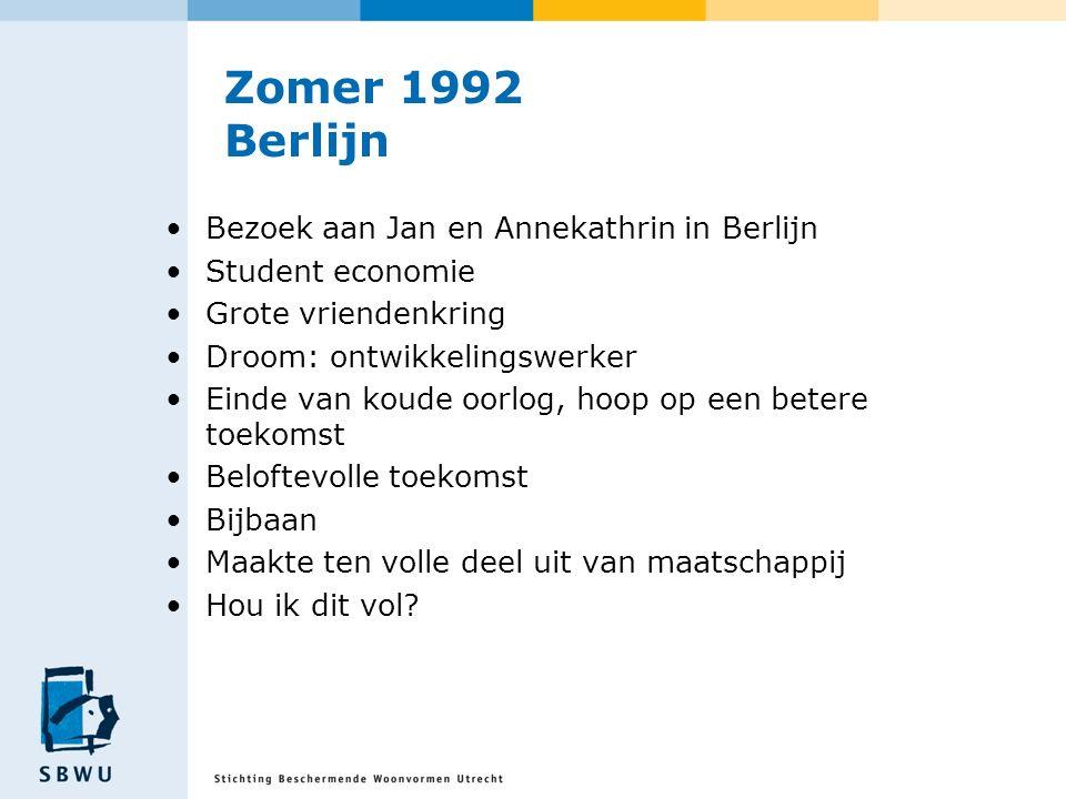 Zomer 1992 Berlijn Bezoek aan Jan en Annekathrin in Berlijn Student economie Grote vriendenkring Droom: ontwikkelingswerker Einde van koude oorlog, ho
