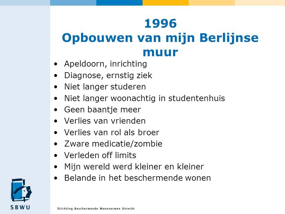 1996 Opbouwen van mijn Berlijnse muur Apeldoorn, inrichting Diagnose, ernstig ziek Niet langer studeren Niet langer woonachtig in studentenhuis Geen b