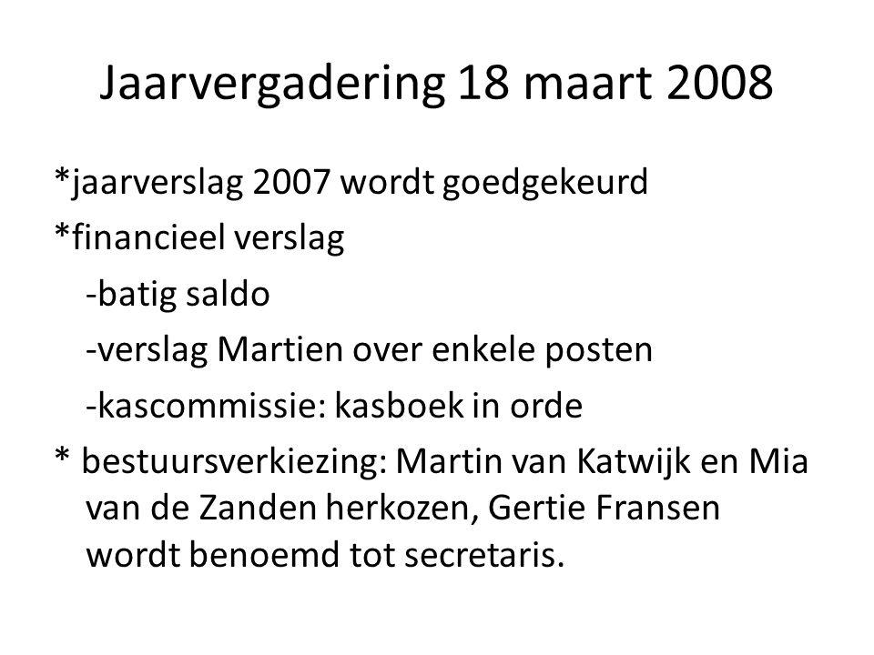 Jaarvergadering 18 maart 2008 *jaarverslag 2007 wordt goedgekeurd *financieel verslag -batig saldo -verslag Martien over enkele posten -kascommissie: kasboek in orde * bestuursverkiezing: Martin van Katwijk en Mia van de Zanden herkozen, Gertie Fransen wordt benoemd tot secretaris.
