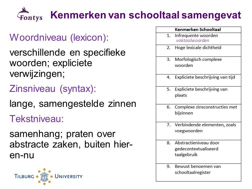 Kenmerken van schooltaal samengevat Woordniveau (lexicon): verschillende en specifieke woorden; expliciete verwijzingen; Zinsniveau (syntax): lange, s