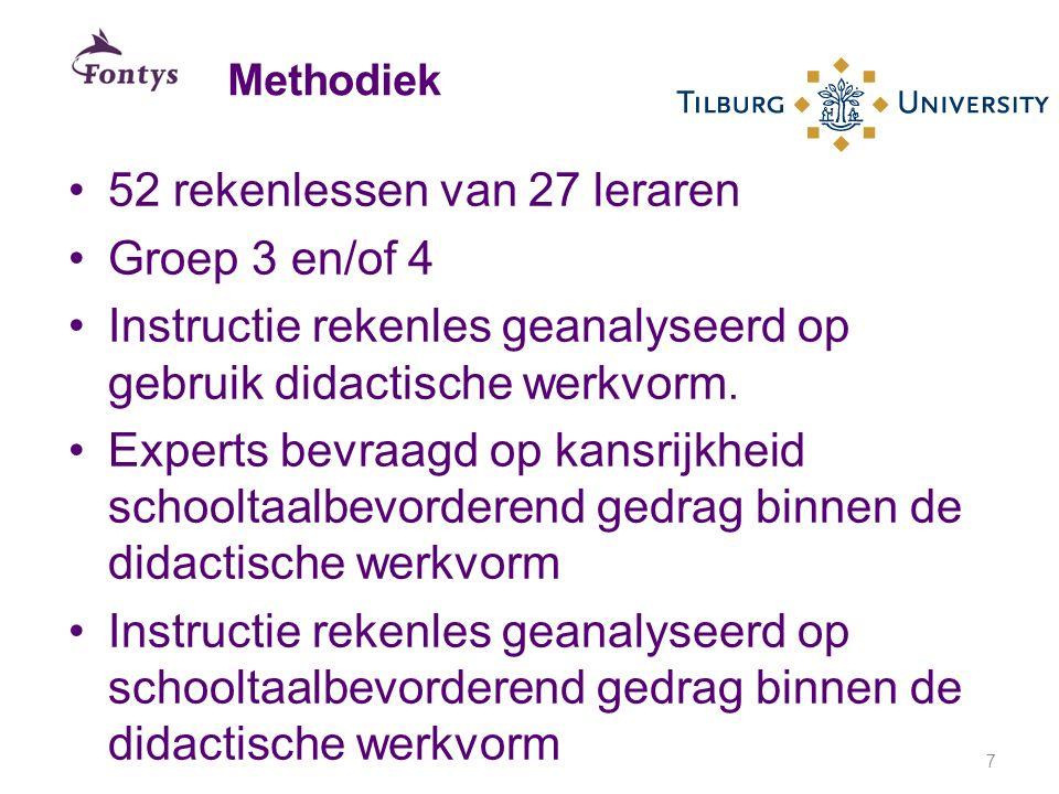 52 rekenlessen van 27 leraren Groep 3 en/of 4 Instructie rekenles geanalyseerd op gebruik didactische werkvorm. Experts bevraagd op kansrijkheid schoo