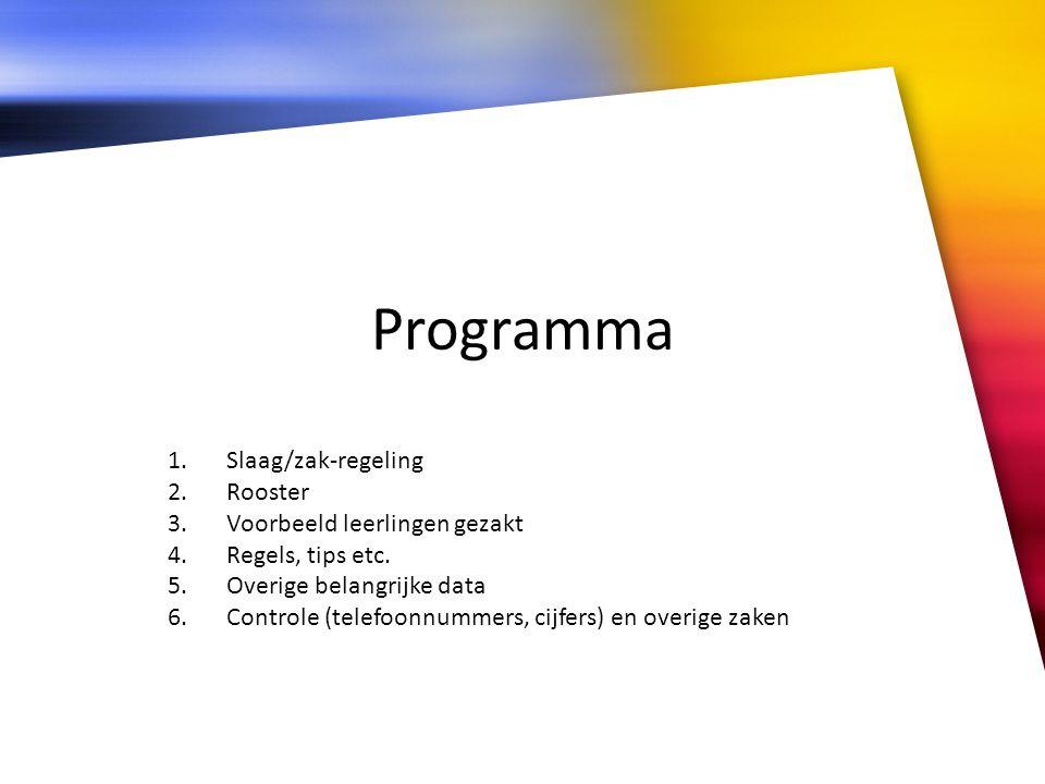 Programma 1.Slaag/zak-regeling 2.Rooster 3.Voorbeeld leerlingen gezakt 4.Regels, tips etc. 5.Overige belangrijke data 6.Controle (telefoonnummers, cij