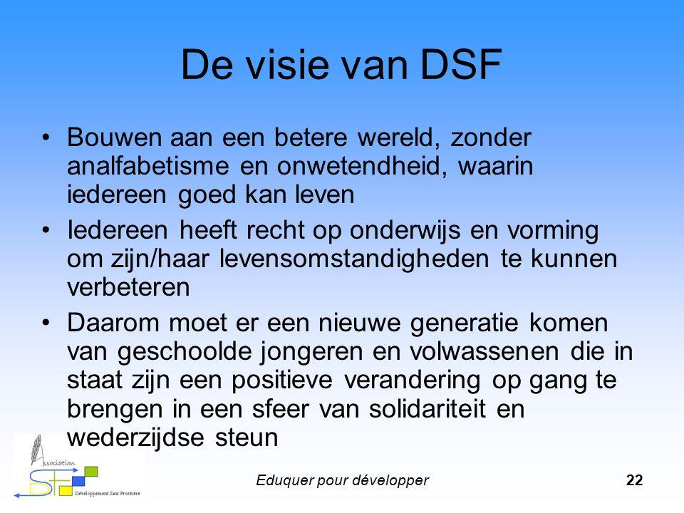 Eduquer pour développer22 De visie van DSF Bouwen aan een betere wereld, zonder analfabetisme en onwetendheid, waarin iedereen goed kan leven Iedereen
