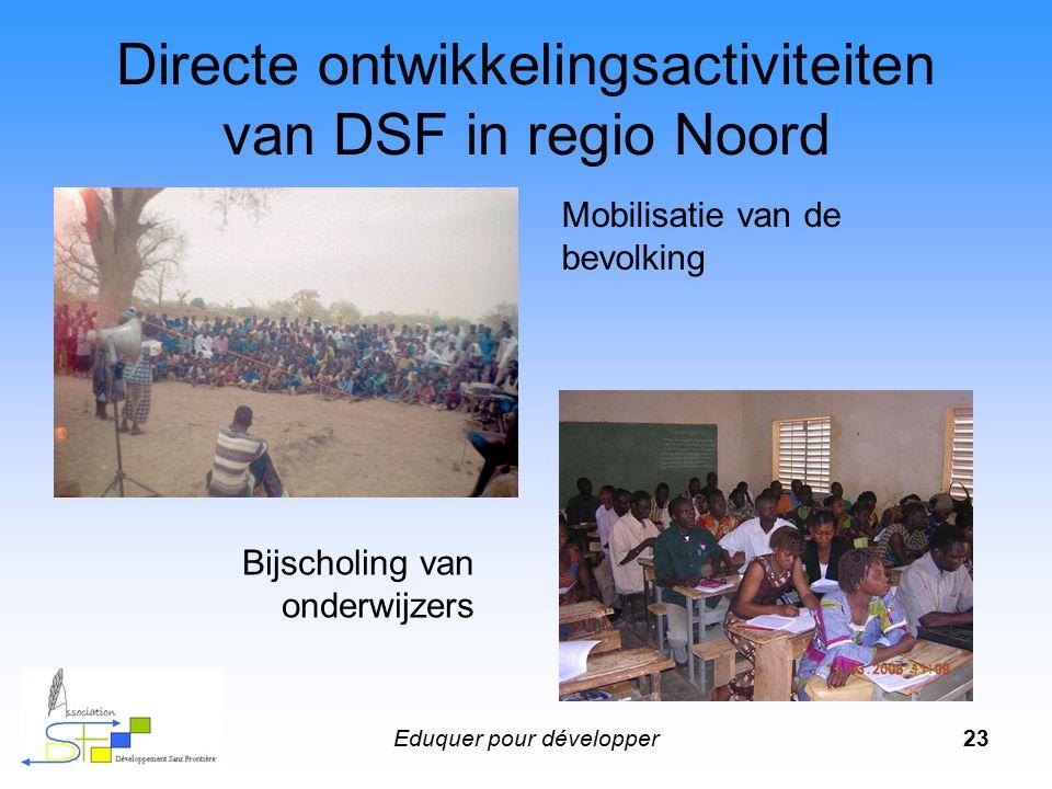 Eduquer pour développer24 Directe ontwikkelingsactiviteiten van DSF in regio Noord Alfabetisering van de bevolking en vormingsonderwijs Aandacht voor vroegkinderlijke ontwikkeling