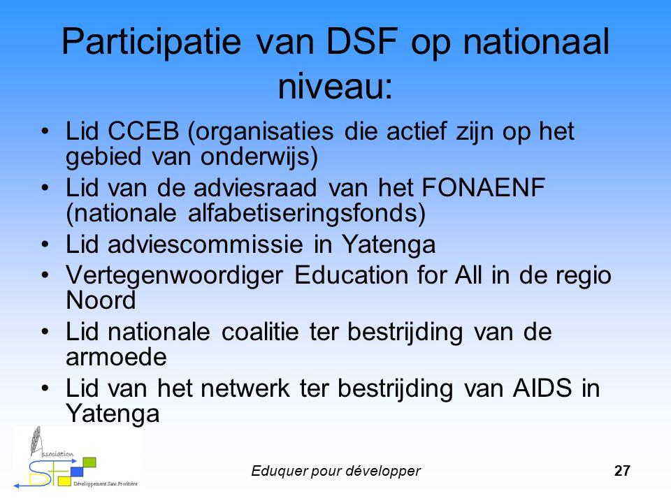 Eduquer pour développer28 De nationale partners van DSF Ministerie van Basisonderwijs en Alfabetisering FONAENF CCEB (Cadre de Cencertation des ONG's en Education de Base) Nationale coalitie voor het onderwijs