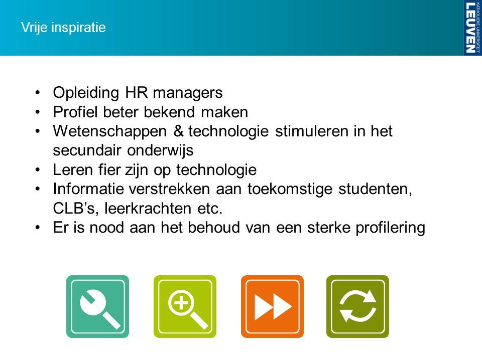 Vrije inspiratie Opleiding HR managers Profiel beter bekend maken Wetenschappen & technologie stimuleren in het secundair onderwijs Leren fier zijn op