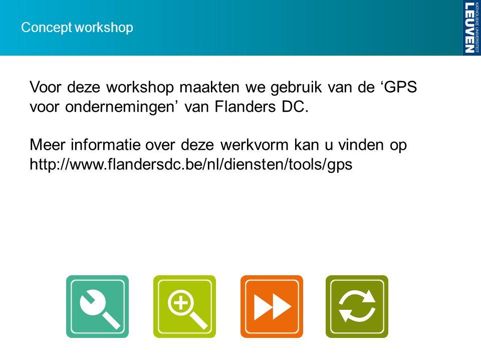 Concept workshop Voor deze workshop maakten we gebruik van de 'GPS voor ondernemingen' van Flanders DC. Meer informatie over deze werkvorm kan u vinde