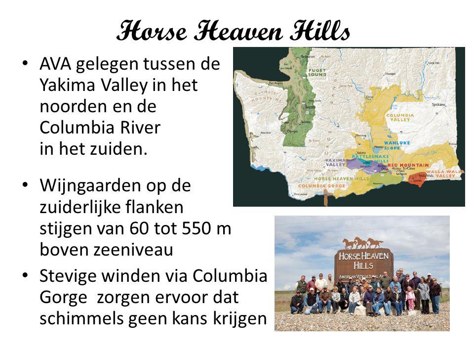 Horse Heaven Hills AVA gelegen tussen de Yakima Valley in het noorden en de Columbia River in het zuiden. Wijngaarden op de zuiderlijke flanken stijge