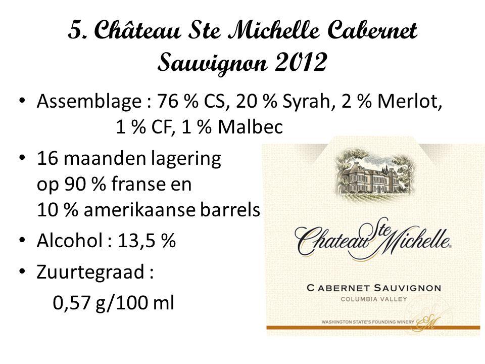 5. Château Ste Michelle Cabernet Sauvignon 2012 Assemblage : 76 % CS, 20 % Syrah, 2 % Merlot, 1 % CF, 1 % Malbec 16 maanden lagering op 90 % franse en