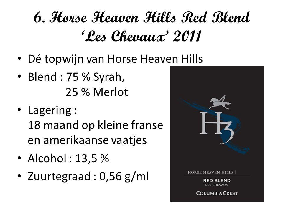 6. Horse Heaven Hills Red Blend 'Les Chevaux' 2011 Dé topwijn van Horse Heaven Hills Blend : 75 % Syrah, 25 % Merlot Lagering : 18 maand op kleine fra
