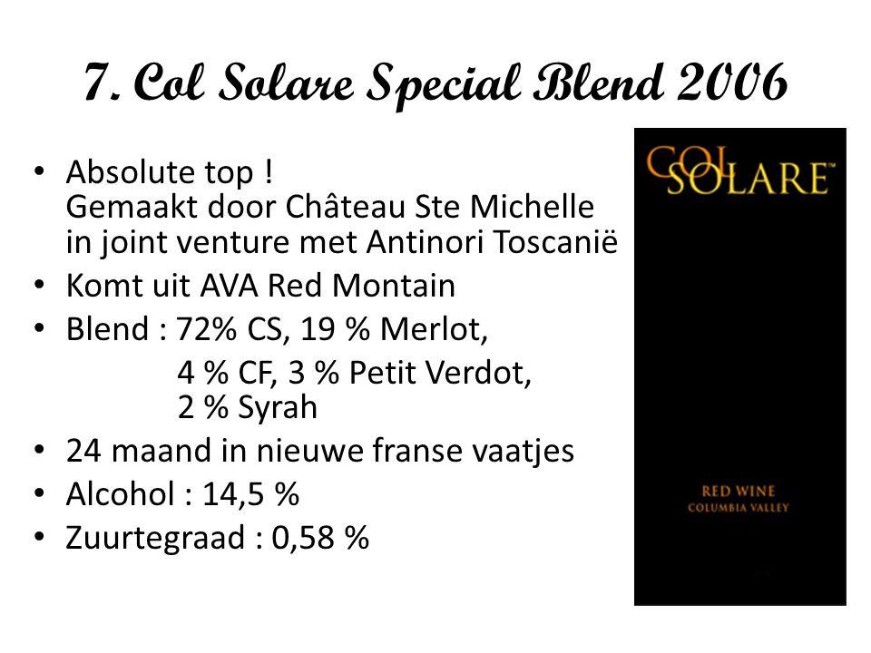 7. Col Solare Special Blend 2006 Absolute top ! Gemaakt door Château Ste Michelle in joint venture met Antinori Toscanië Komt uit AVA Red Montain Blen