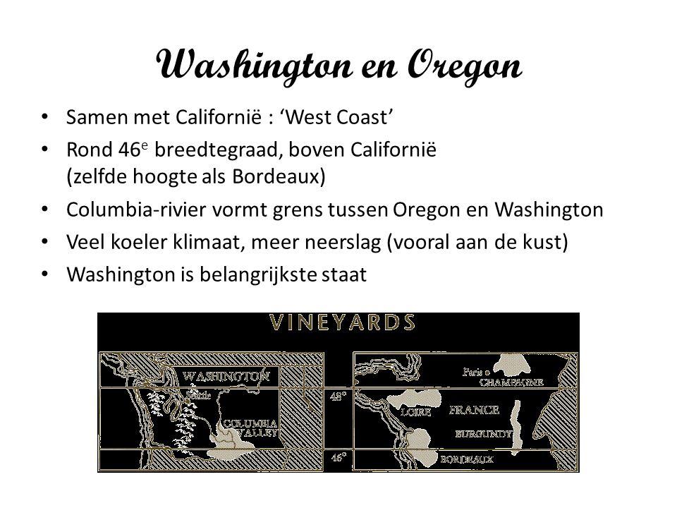 Washington en Oregon Samen met Californië : 'West Coast' Rond 46 e breedtegraad, boven Californië (zelfde hoogte als Bordeaux) Columbia-rivier vormt grens tussen Oregon en Washington Veel koeler klimaat, meer neerslag (vooral aan de kust) Washington is belangrijkste staat