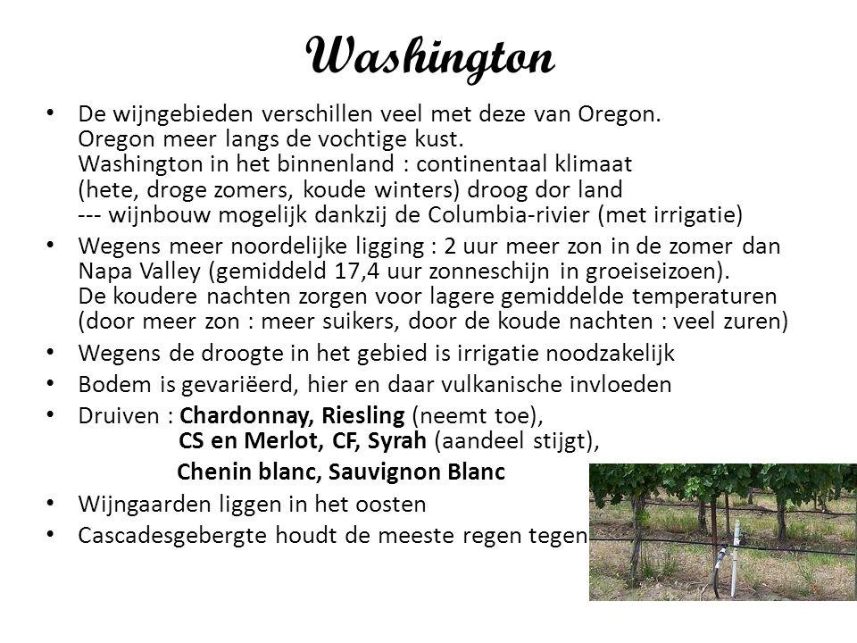 Washington De wijngebieden verschillen veel met deze van Oregon. Oregon meer langs de vochtige kust. Washington in het binnenland : continentaal klima