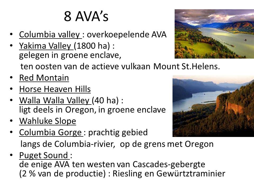 8 AVA's Columbia valley : overkoepelende AVA Yakima Valley (1800 ha) : gelegen in groene enclave, ten oosten van de actieve vulkaan Mount St.Helens.