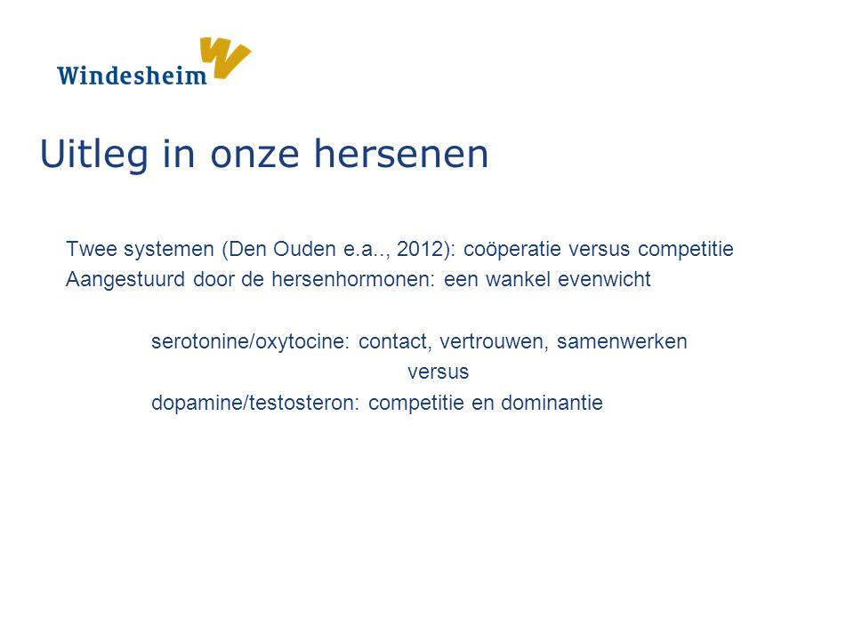 Twee systemen (Den Ouden e.a.., 2012): coöperatie versus competitie Aangestuurd door de hersenhormonen: een wankel evenwicht serotonine/oxytocine: contact, vertrouwen, samenwerken versus dopamine/testosteron: competitie en dominantie Uitleg in onze hersenen