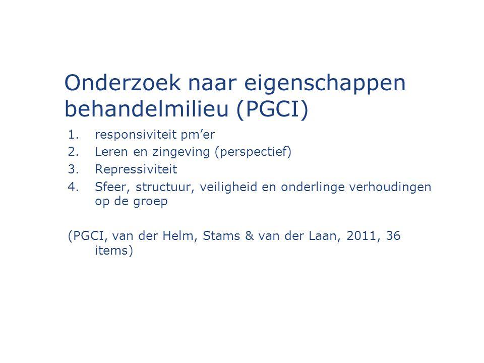 Onderzoek naar eigenschappen behandelmilieu (PGCI) 1.responsiviteit pm'er 2.Leren en zingeving (perspectief) 3.Repressiviteit 4.Sfeer, structuur, veiligheid en onderlinge verhoudingen op de groep (PGCI, van der Helm, Stams & van der Laan, 2011, 36 items)