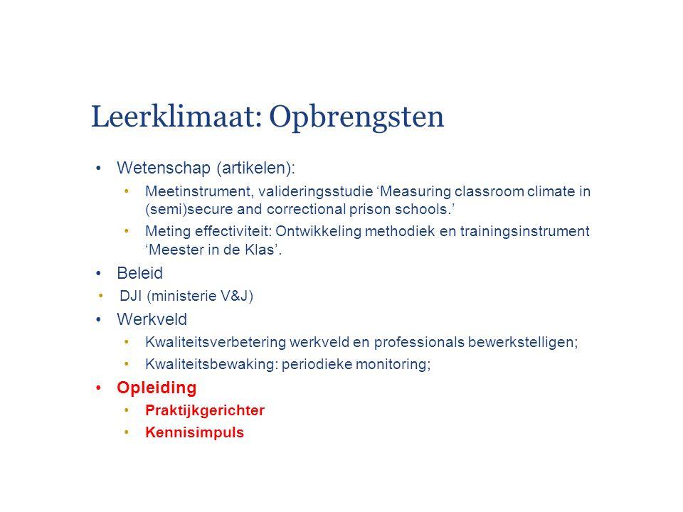Leerklimaat: Opbrengsten Wetenschap (artikelen): Meetinstrument, valideringsstudie 'Measuring classroom climate in (semi)secure and correctional priso