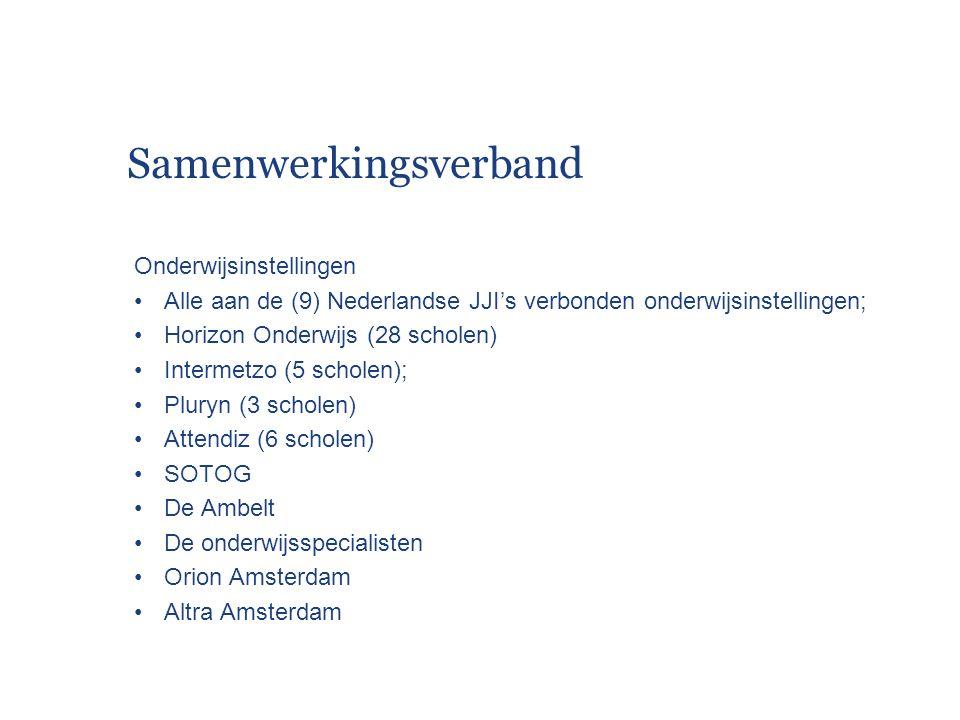 Samenwerkingsverband Onderwijsinstellingen Alle aan de (9) Nederlandse JJI's verbonden onderwijsinstellingen; Horizon Onderwijs (28 scholen) Intermetzo (5 scholen); Pluryn (3 scholen) Attendiz (6 scholen) SOTOG De Ambelt De onderwijsspecialisten Orion Amsterdam Altra Amsterdam