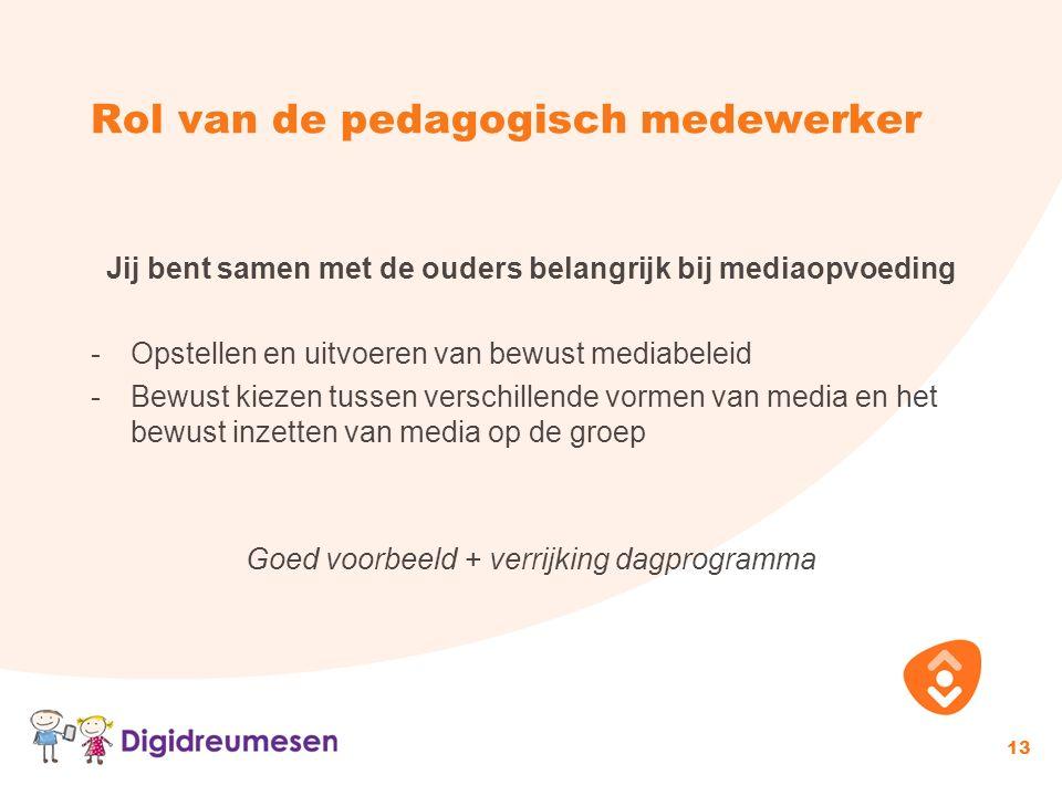 Rol van de pedagogisch medewerker Jij bent samen met de ouders belangrijk bij mediaopvoeding -Opstellen en uitvoeren van bewust mediabeleid -Bewust ki