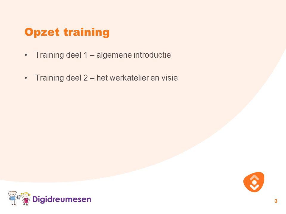 Opzet training Training deel 1 – algemene introductie Training deel 2 – het werkatelier en visie 3