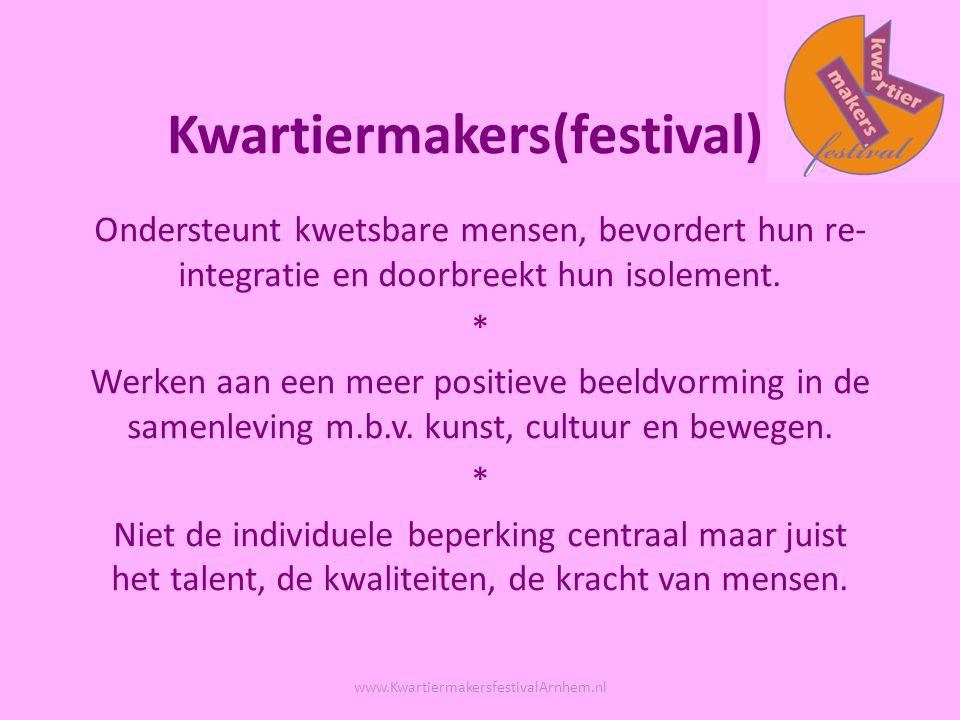 Kwartiermakers(festival) Ondersteunt kwetsbare mensen, bevordert hun re- integratie en doorbreekt hun isolement.