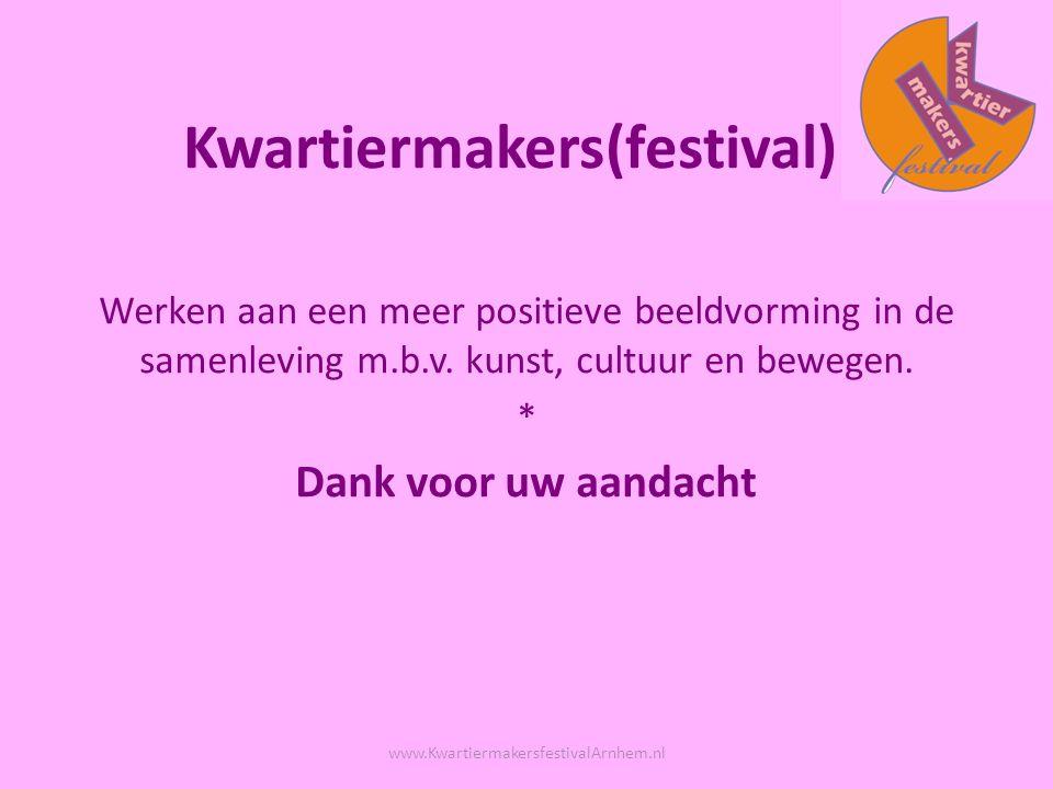 Kwartiermakers(festival) Werken aan een meer positieve beeldvorming in de samenleving m.b.v.