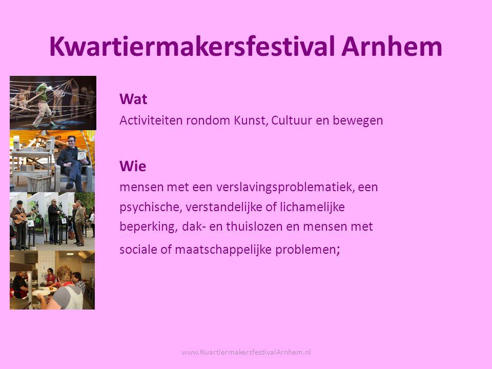 Kwartiermakersfestival Arnhem Wat Activiteiten rondom Kunst, Cultuur en bewegen Wie mensen met een verslavingsproblematiek, een psychische, verstandelijke of lichamelijke beperking, dak- en thuislozen en mensen met sociale of maatschappelijke problemen ; www.KwartiermakersfestivalArnhem.nl