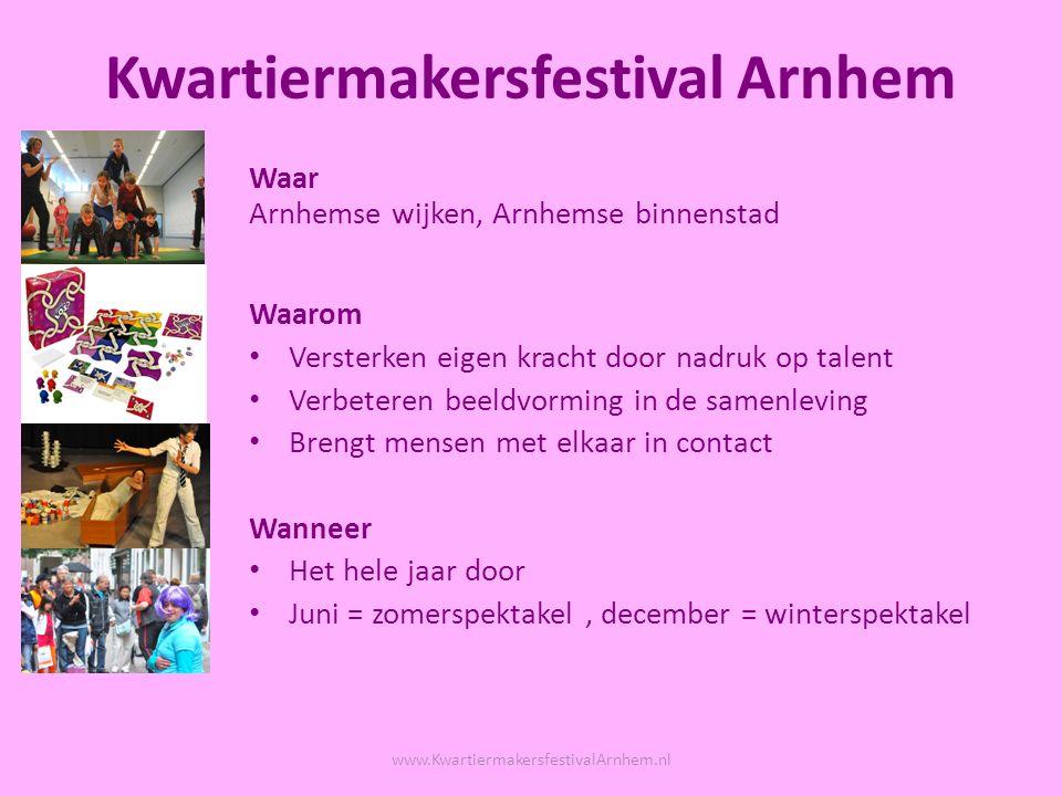 Doel: positieve beeldvorming Vorm: MensenZoo Wie: alle doelgroepen www.KwartiermakersfestivalArnhem.nl