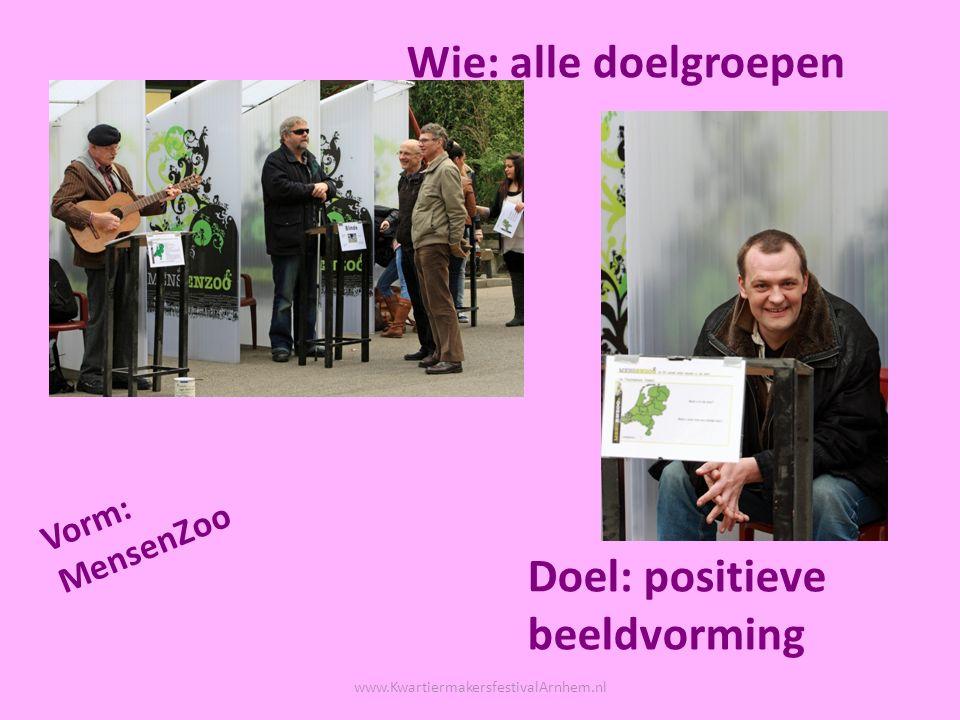 Vorm: theater Wie: jongeren met een autistische stoornis Doel: focus op talent en kracht www.KwartiermakersfestivalArnhem.nl