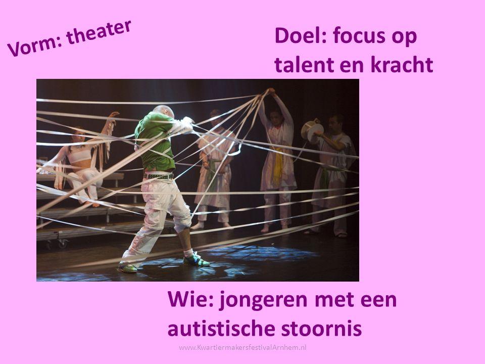 Wie: mensen met een beperking Vorm: modefotografie Doel: focus op talent, kracht en positieve beeldvorming www.KwartiermakersfestivalArnhem.nl