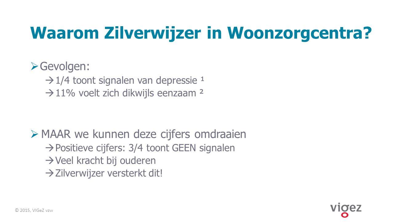 Waarom Zilverwijzer in Woonzorgcentra?  Gevolgen:  1/4 toont signalen van depressie ¹  11% voelt zich dikwijls eenzaam ²  MAAR we kunnen deze cijf