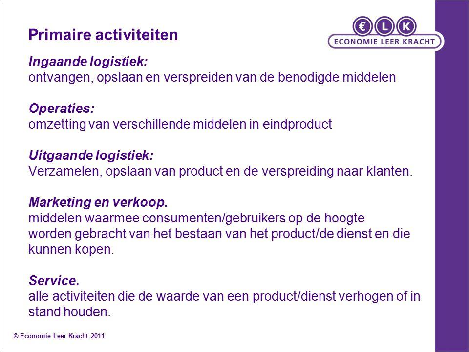 Primaire activiteiten Ingaande logistiek: ontvangen, opslaan en verspreiden van de benodigde middelen Operaties: omzetting van verschillende middelen