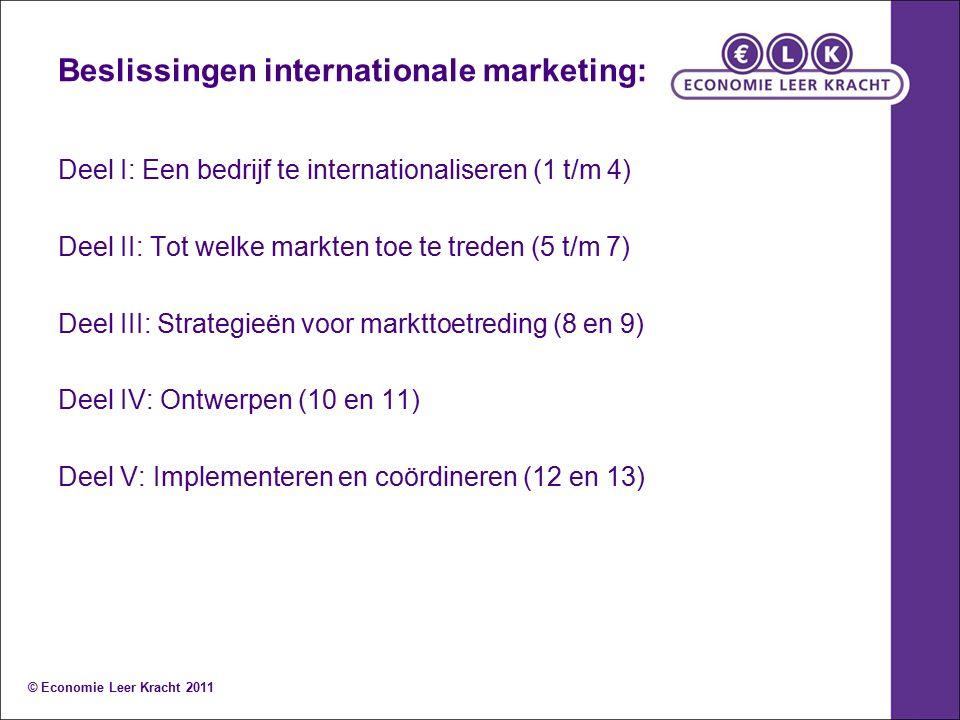 Beslissingen internationale marketing: Deel I: Een bedrijf te internationaliseren (1 t/m 4) Deel II: Tot welke markten toe te treden (5 t/m 7) Deel II