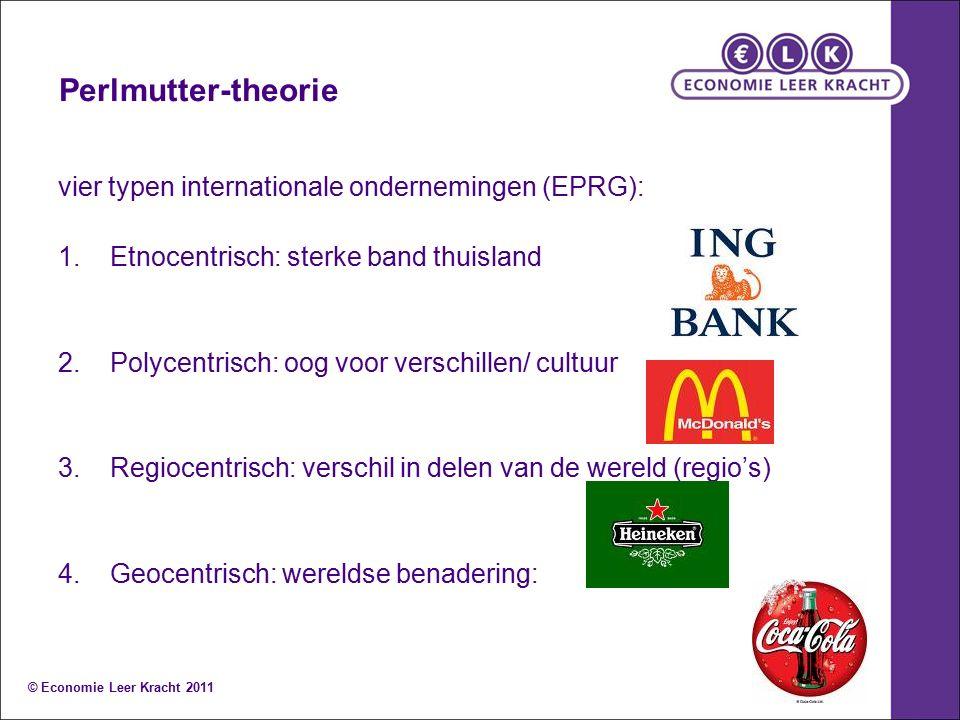 vier typen internationale ondernemingen (EPRG): 1.Etnocentrisch: sterke band thuisland 2.Polycentrisch: oog voor verschillen/ cultuur 3.Regiocentrisch