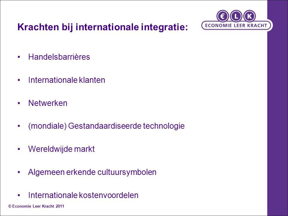 Krachten bij internationale integratie: Handelsbarrières Internationale klanten Netwerken (mondiale) Gestandaardiseerde technologie Wereldwijde markt