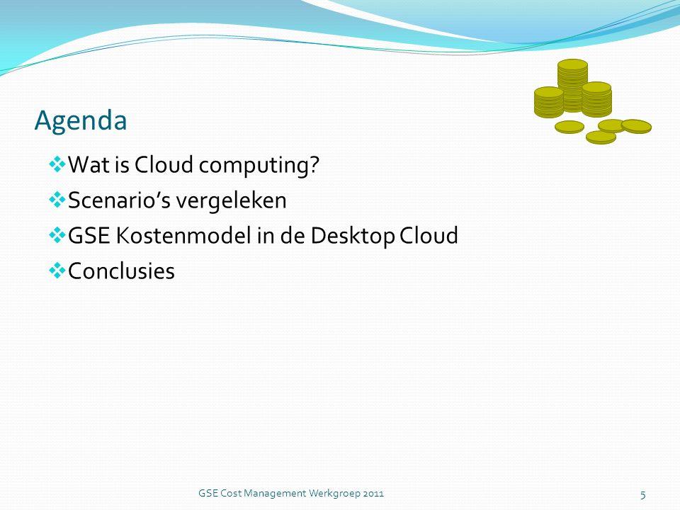 GSE kostenmodel in de Cloud: Server Based Desktop in een private cloud Ingekochte services Personeel Hard-en software Helpdesk Config.