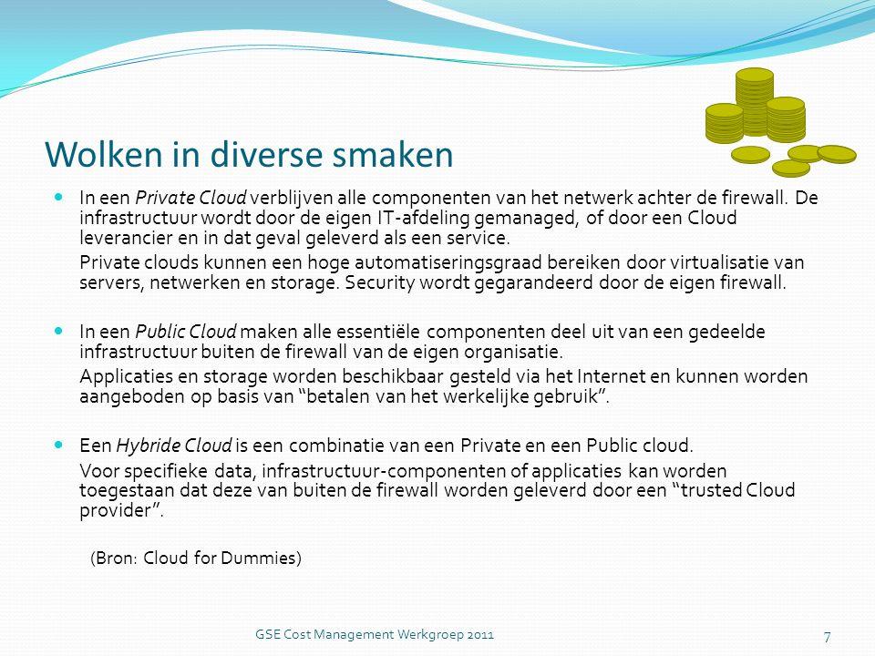 Kosten vergeleken GSE Cost Management Werkgroep 2011 18 Cloud is 34% goedkoper, indirecte kosten meegerekend.