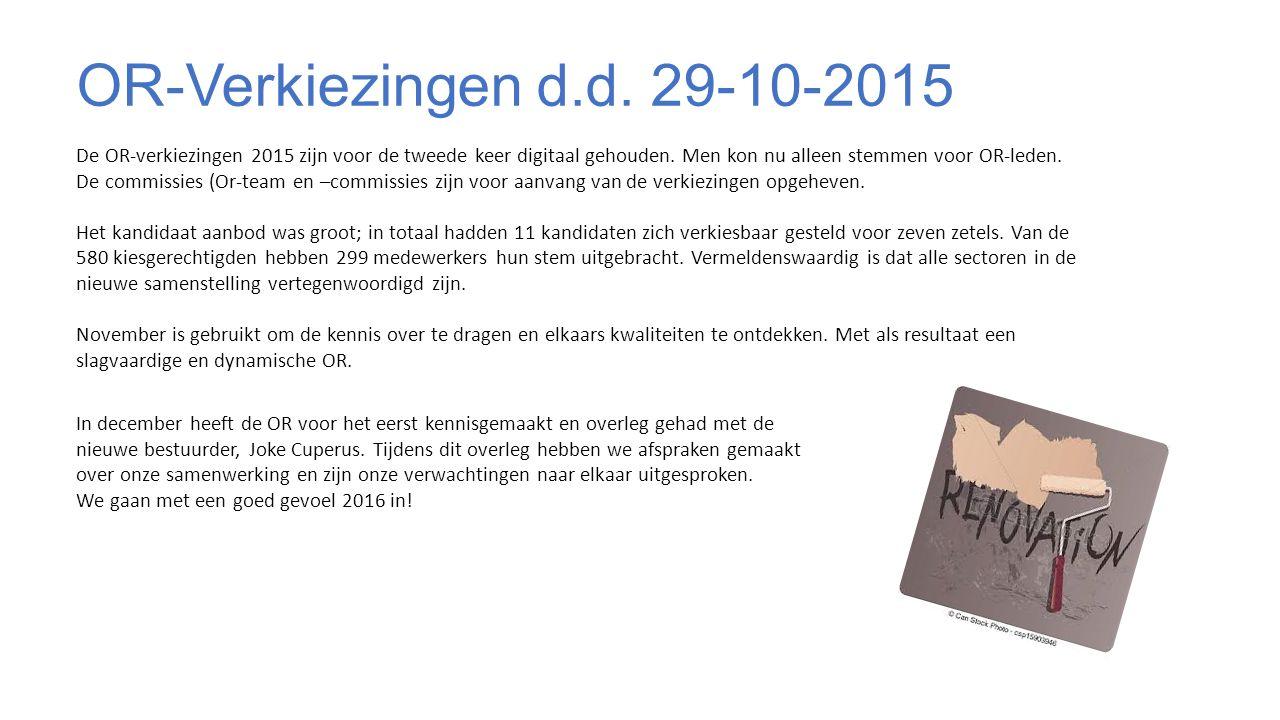 OR-Verkiezingen d.d. 29-10-2015 De OR-verkiezingen 2015 zijn voor de tweede keer digitaal gehouden.