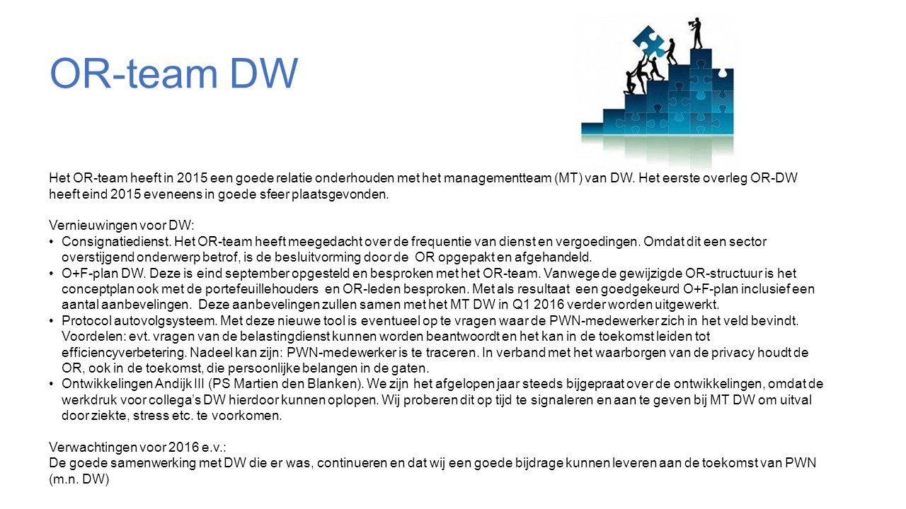 OR-team DW Het OR-team heeft in 2015 een goede relatie onderhouden met het managementteam (MT) van DW.