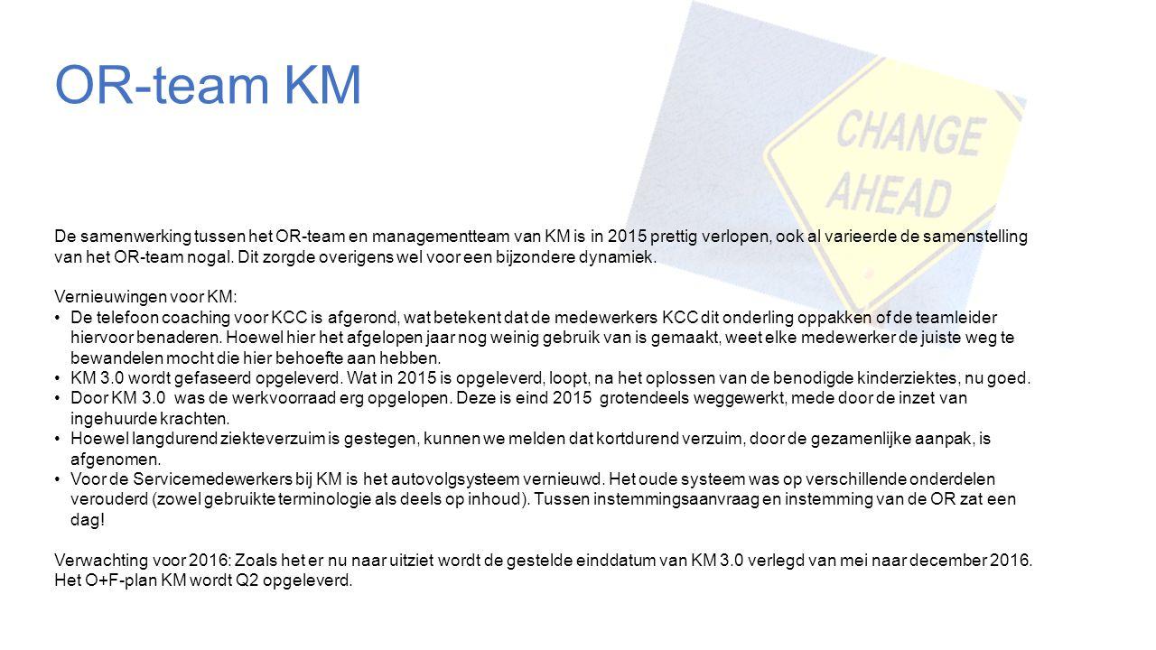 OR-team KM De samenwerking tussen het OR-team en managementteam van KM is in 2015 prettig verlopen, ook al varieerde de samenstelling van het OR-team nogal.