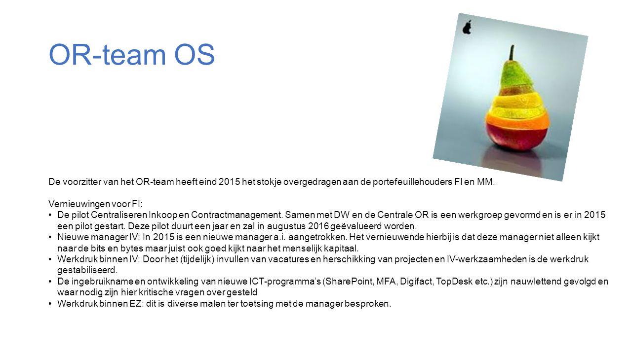 OR-team OS De voorzitter van het OR-team heeft eind 2015 het stokje overgedragen aan de portefeuillehouders FI en MM.